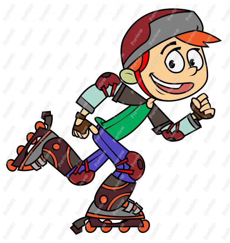 Boy Rollerblading Clip Art.