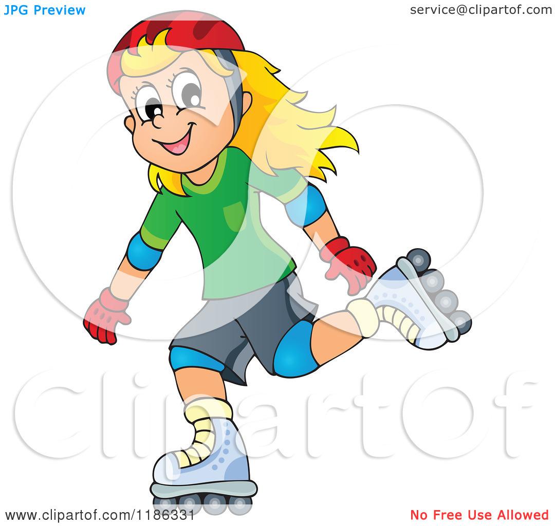 Cartoon of a Happy Girl Roller Blading.