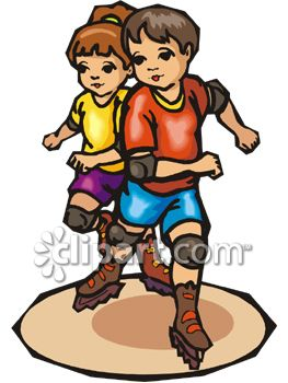 Boy and Girl Roller Blading.