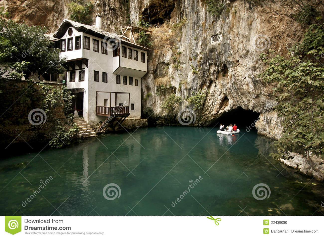 Dervish House In Blagaj Buna Stock Photo.