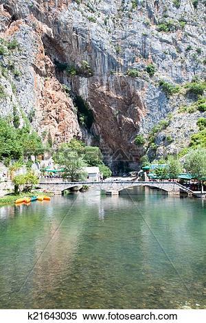 Stock Image of Panoramic view on Blagaj Buna river k21643035.