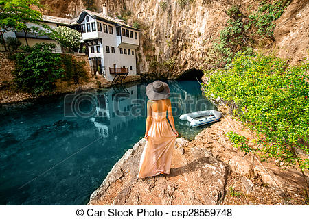 Stock Photo of Woman in Blagaj Buna.