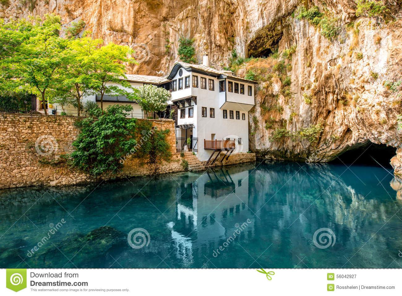 Beautiful House In Blagaj Village On Buna Spring Stock Photo.