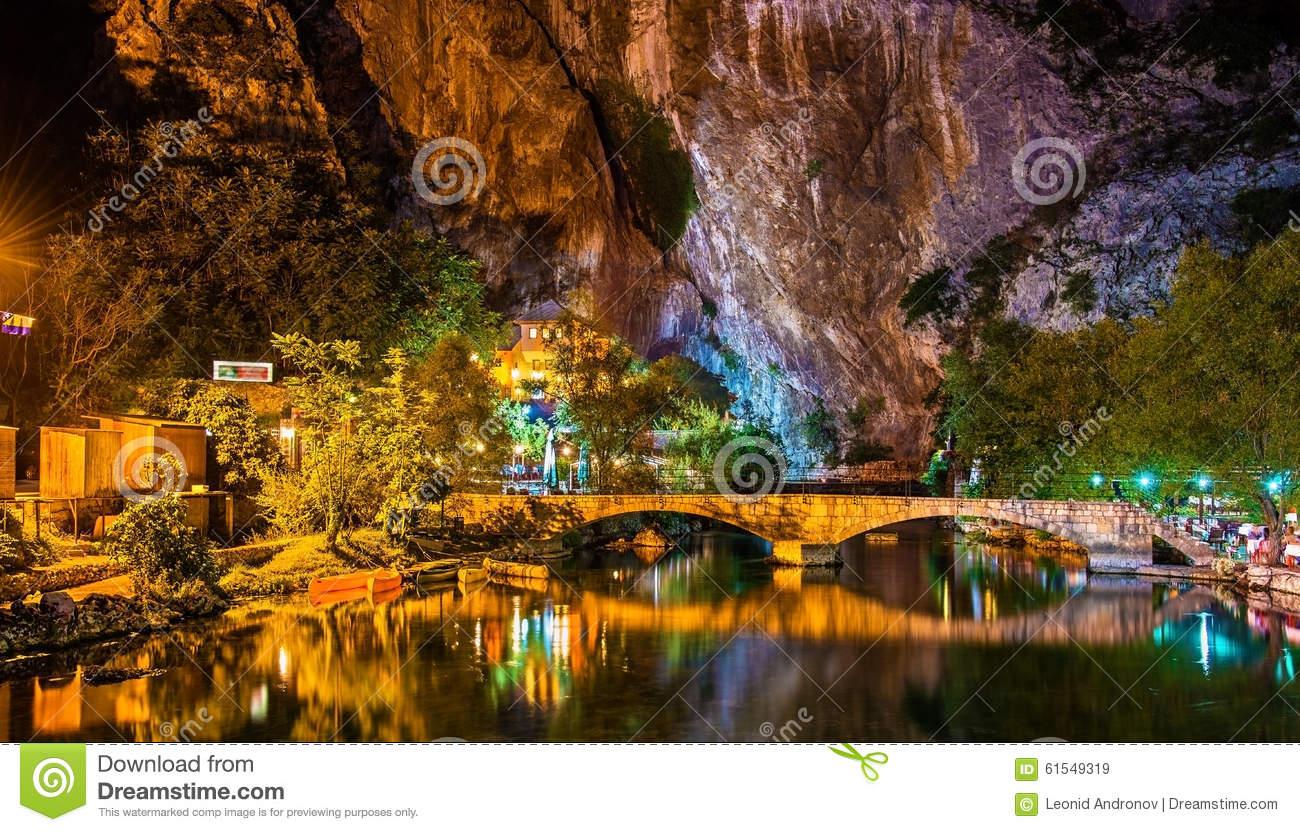 Vrelo Bune, Source Of The Buna River, In Blagaj Stock Photo.