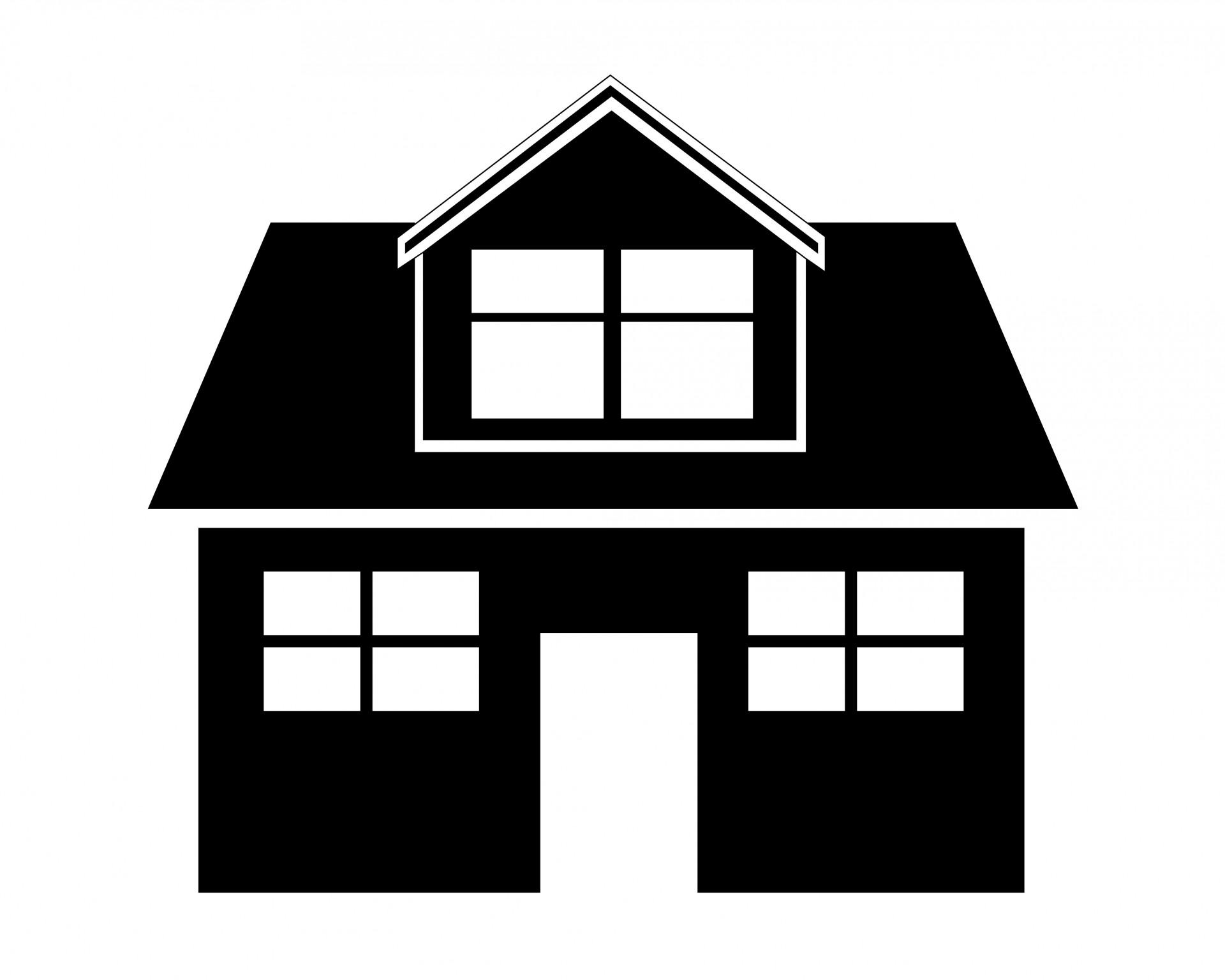 Maison clipart noir et blanc.