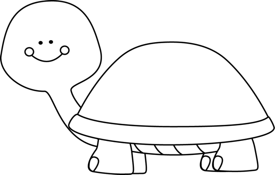 Black and White Blank Turtle Clip Art.