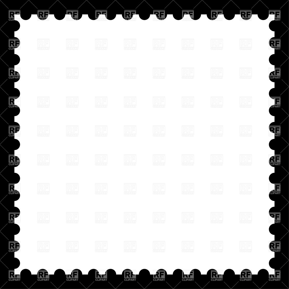 Postage Stamp Black And White Clipart.