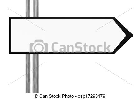 Blank road sign direction black and white clipart.