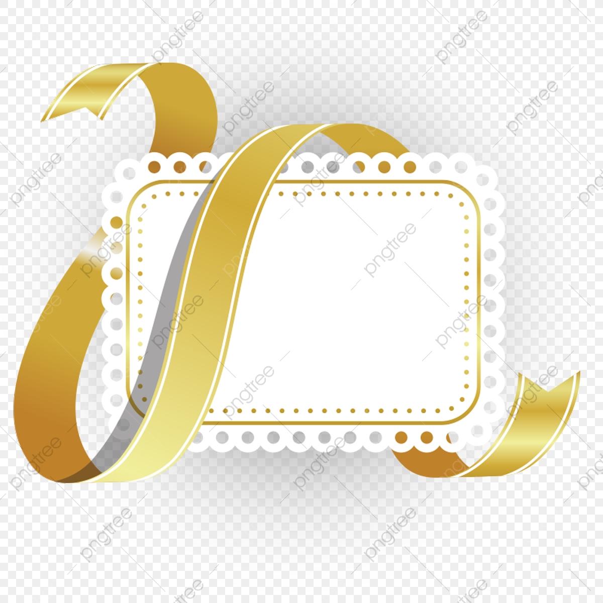 Golden Luxury Ribbon In Blank Banner, Golden, Luxury, Ribbon PNG.