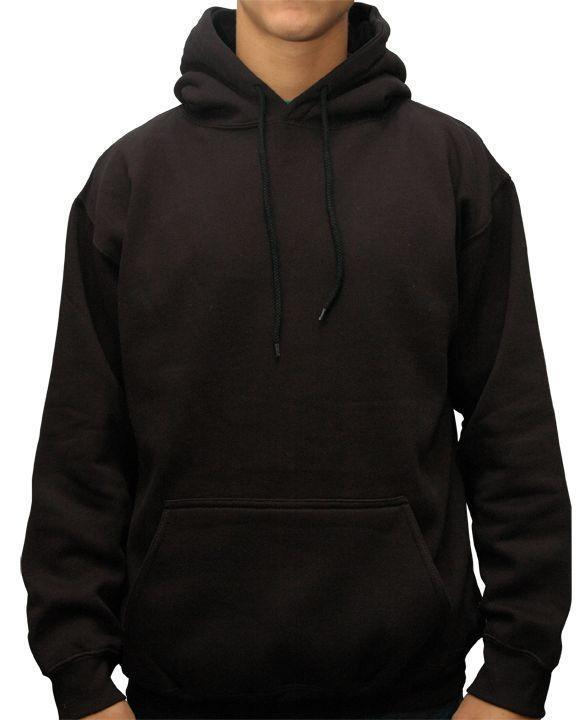 Black Pullover Blank Fleece Hoodies For Men.