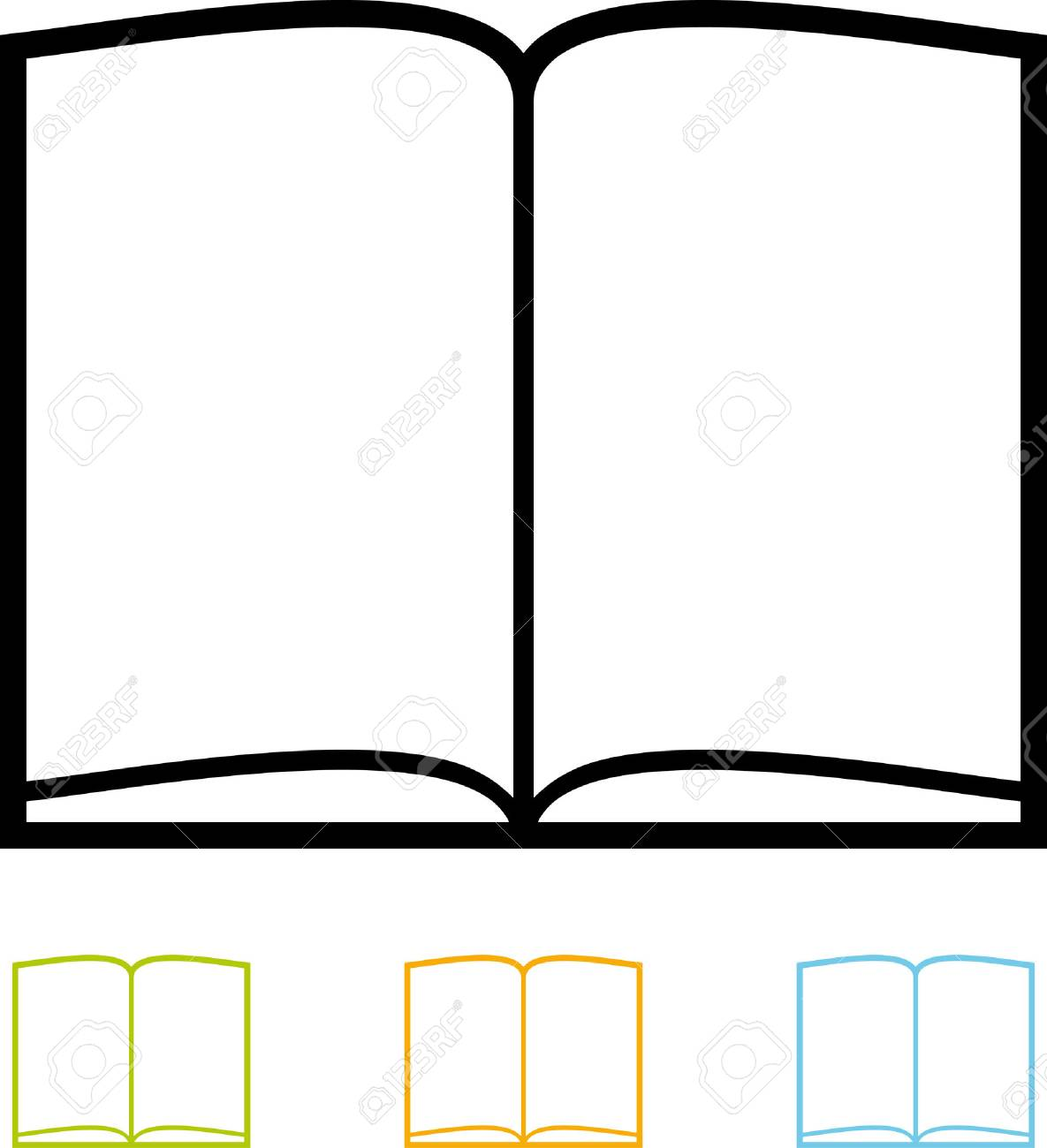 Blank book pages vector isolated.