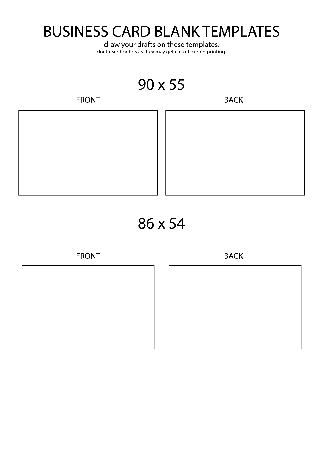 9 Blank Business Card Template Images.