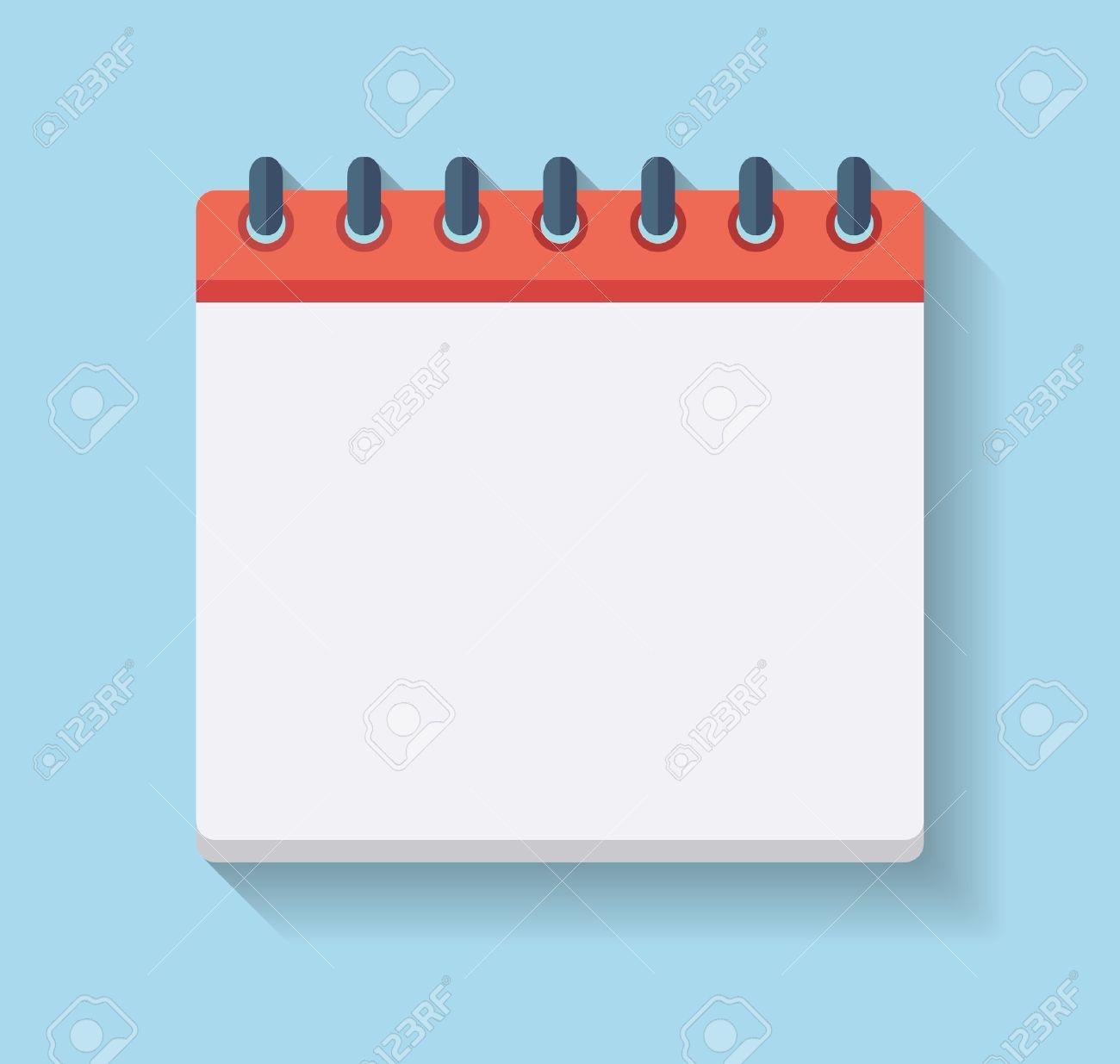 Flat Calendar Icon. Blank calendar template..