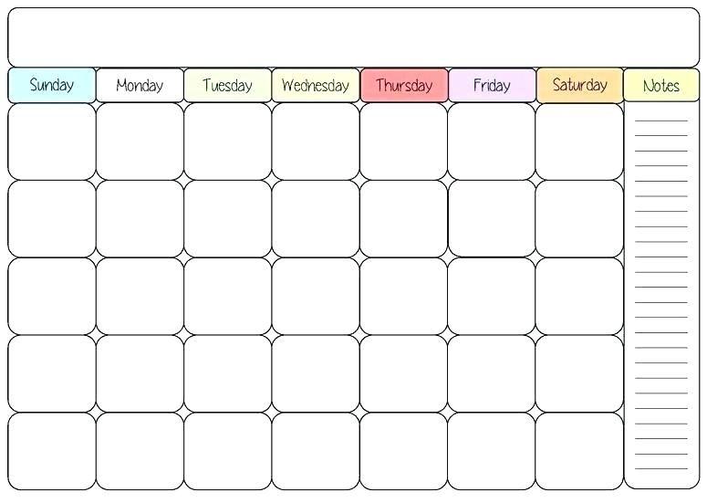 Blank Colorful Calendar Template Weekly.