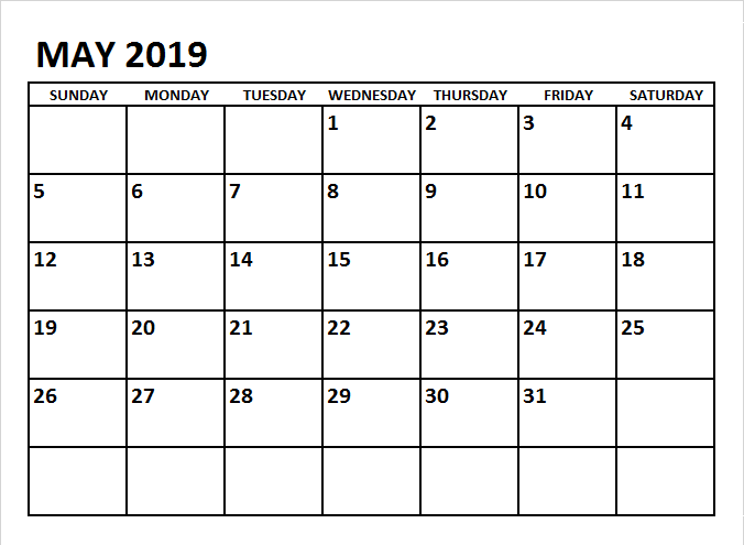 Free Printable May 2019 Calendar Cute Template.