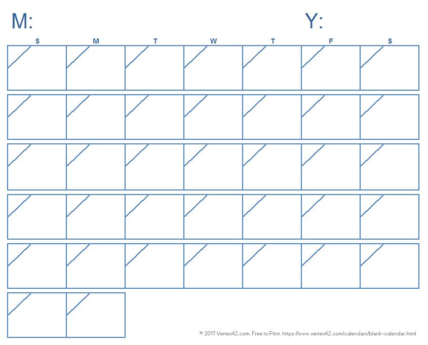 Blank Calendar Template.