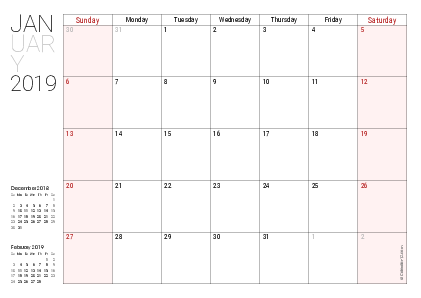 Printable 2019 Calendars (PDF).