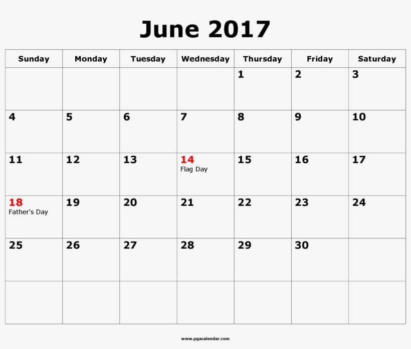 June 2017 Blank Calendar.