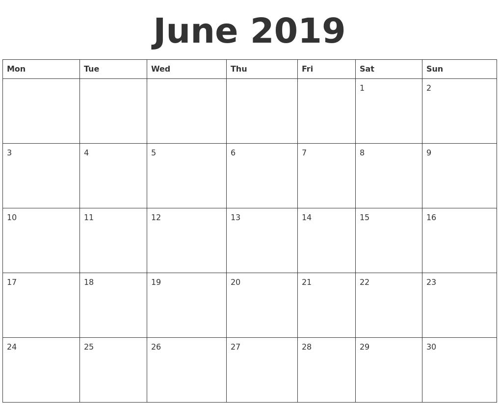 Blank June 2019 Calendar Template in PDF, JPG and PNG Format.