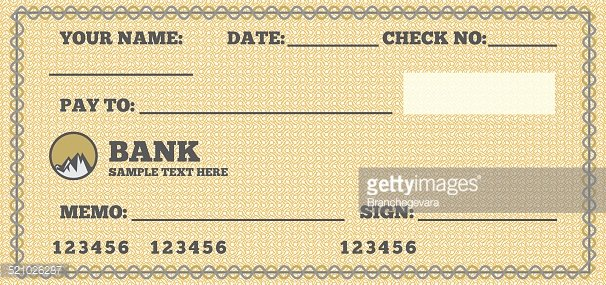 Blank check Clipart Image.