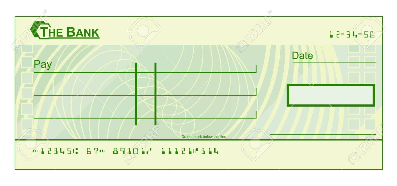 A blank cheque check template illustration.