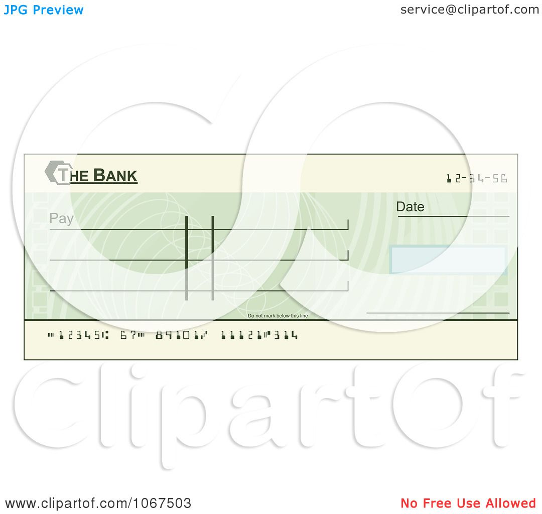 Clipart Blank Green Blank Cheque.