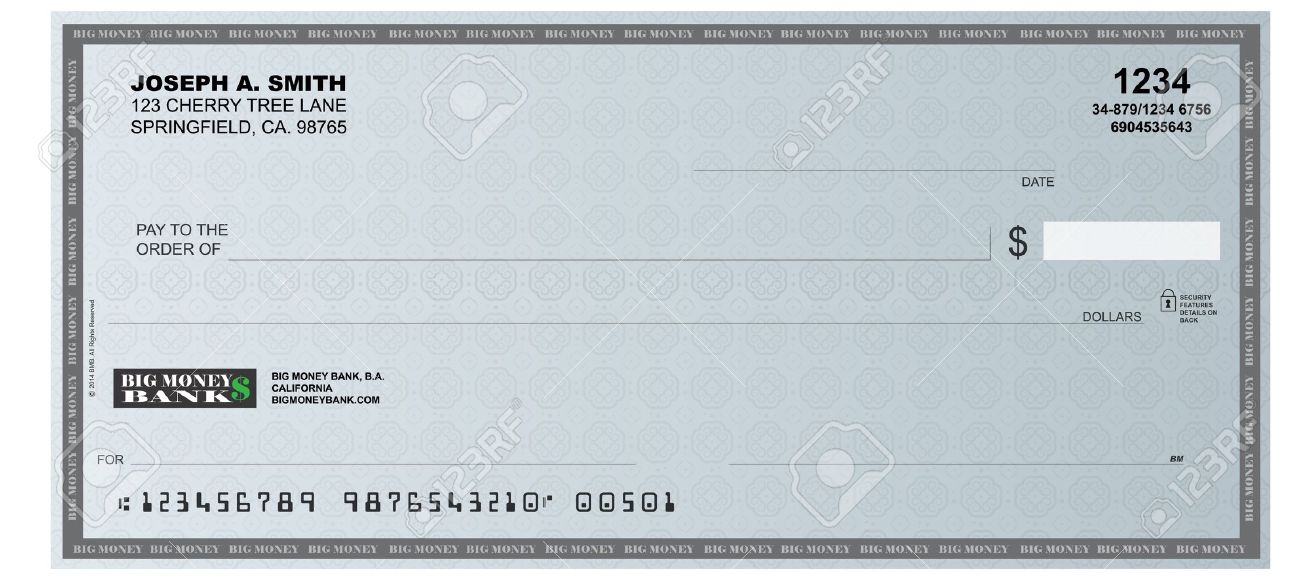 A realistic representation of a blank check.