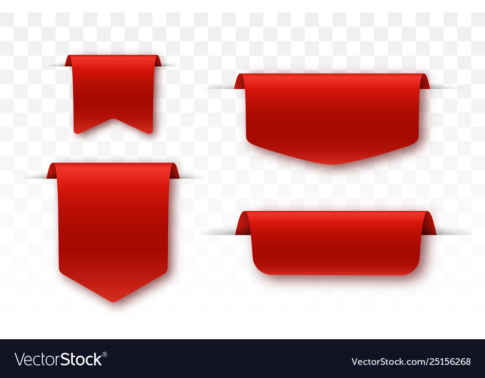 Blank labels offer tag red colored promo ribbons.