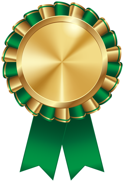 Rosette Ribbon Green Transparent Image.