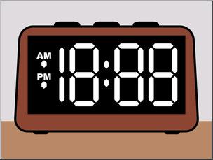 Clip Art: Clock Digital Blank Face Color I abcteach.com.