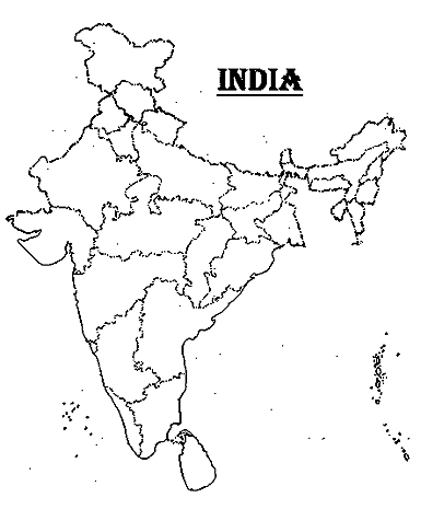 Blank India Clipart Map.