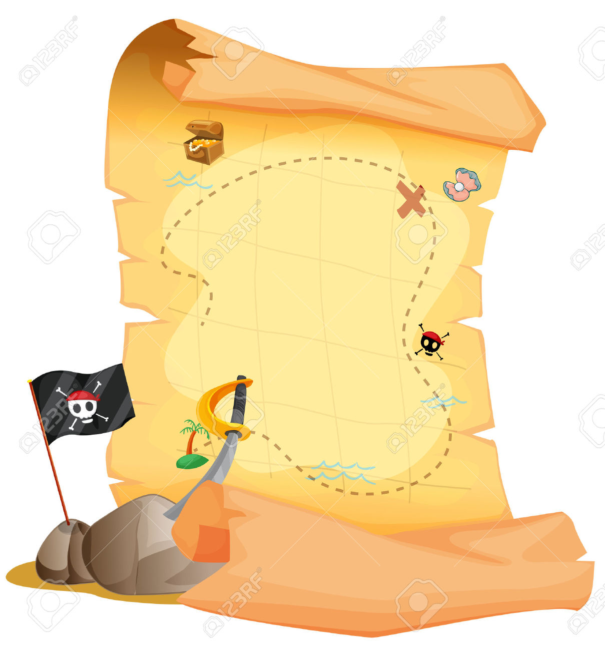 Blank Treasure Map Clipart.