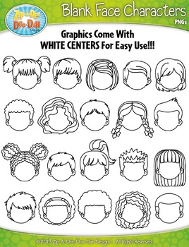 Blank Face Kid Characters Clipart {Zip.