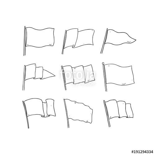 Hand drawn vector illustration of flag on white background. Blank.