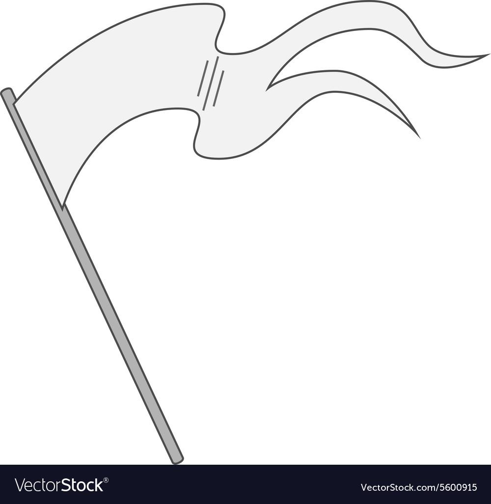 White blank Flag on Stick.