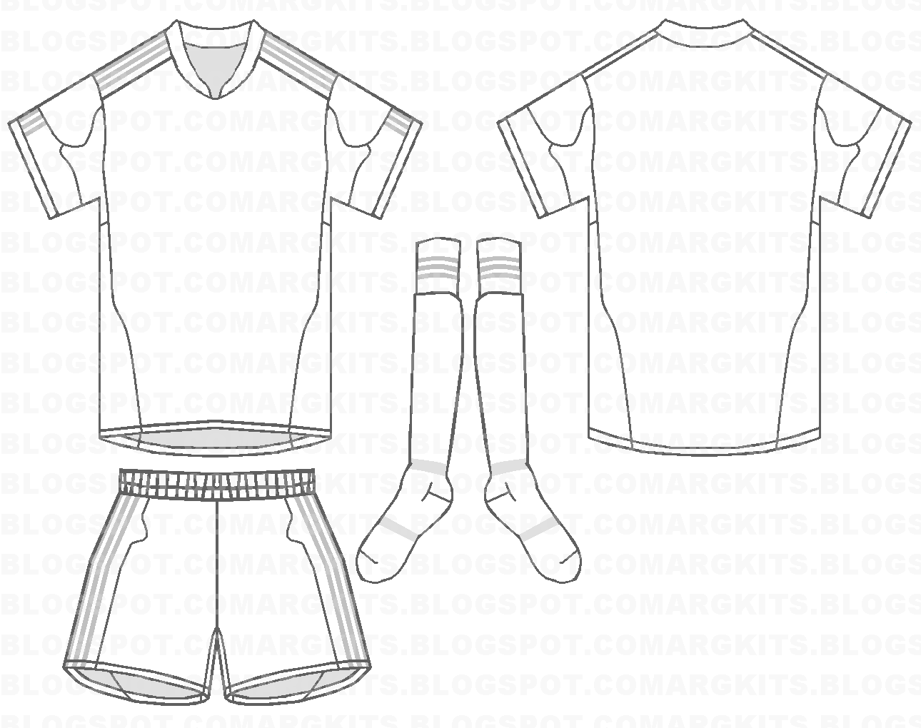 Blank Football Shirts Template.