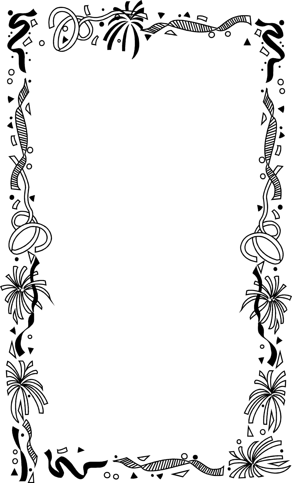 Illustration of a blank frame border with confetti : Free.