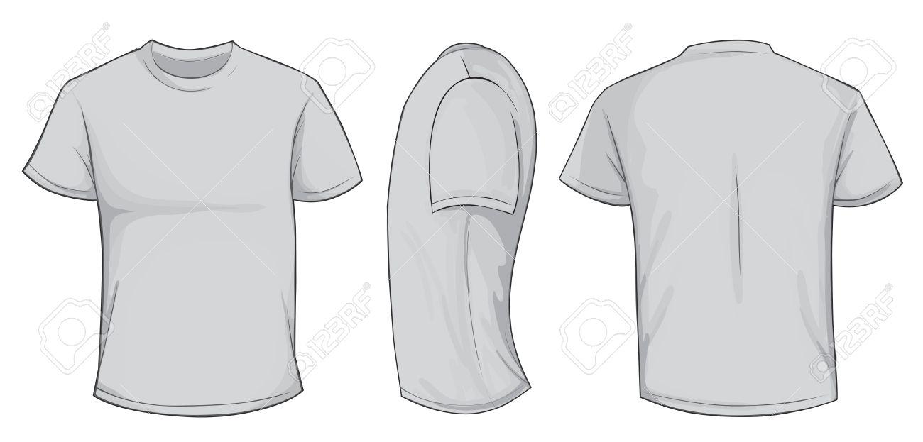 Vector illustration of blank grey men t.