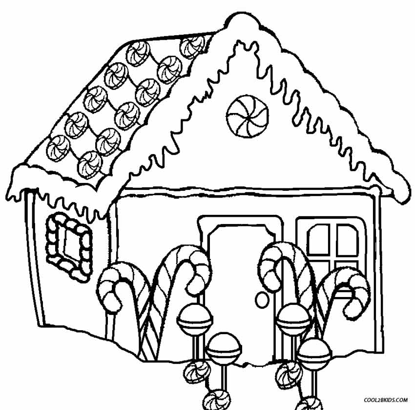 Printable Gingerbread House Coloring Pages For Kids.