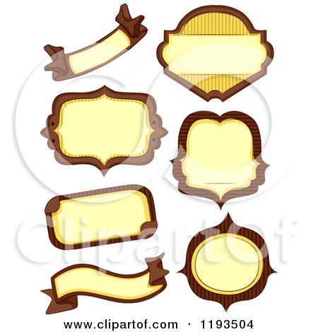 Cartoon of Brown and Yellow Blank Labels.
