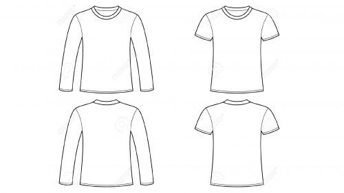 Blank Tshirt Template Clip Art with Long Sleeve.
