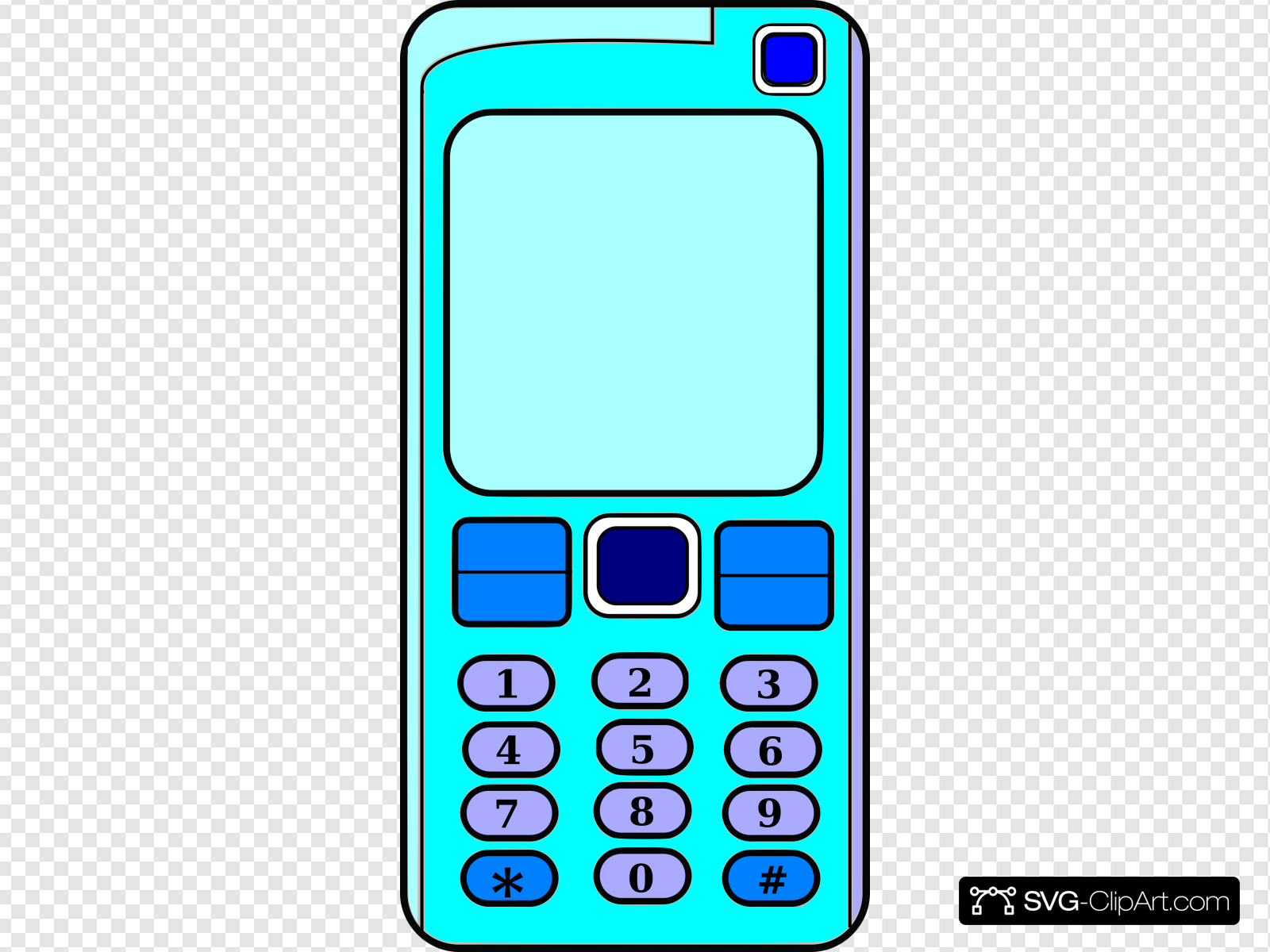 Mobile Phone With Blank Screen (blue) Clip art, Icon and SVG.