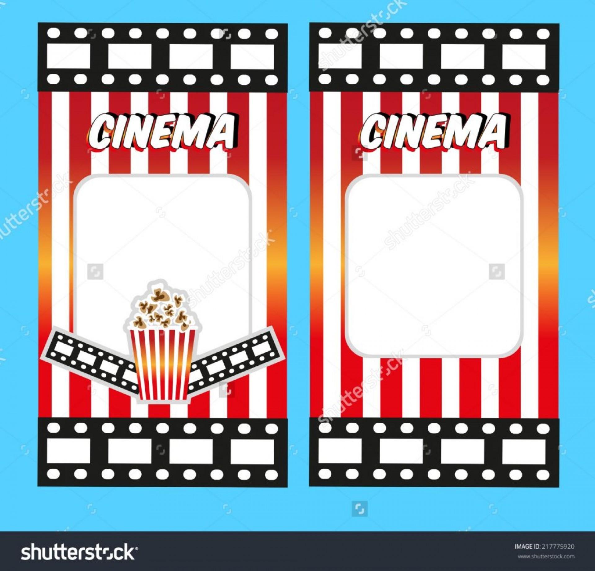 023 Blank Movie Ticket Invitation Template Ideas Set Vector.