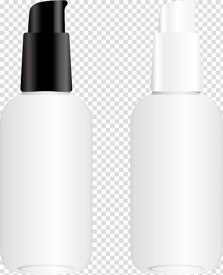 Two black and white bottles illustration, Glass bottle.