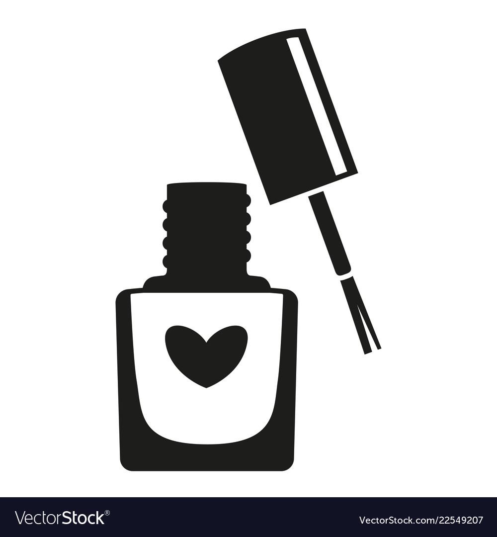 Black and white open nail polish bottle silhouette.