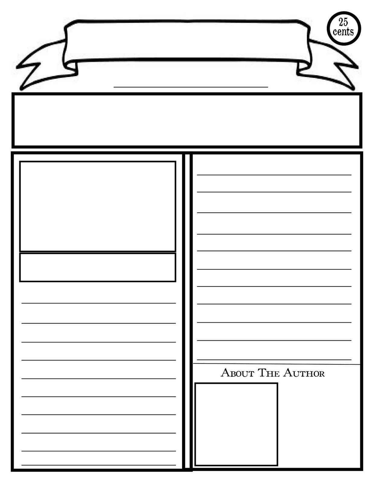 blank newspaper template for kids printable.