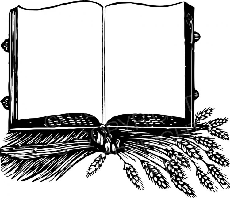 An Open Book with Blank Pages Vintage Black and White Clip.