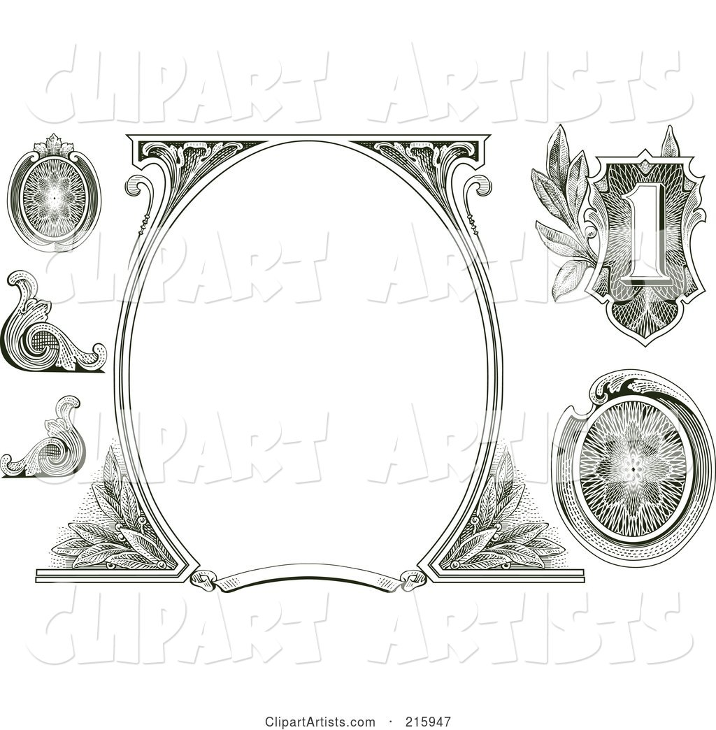 Digital Collage Of Money Design Elements With A Blank Oval.