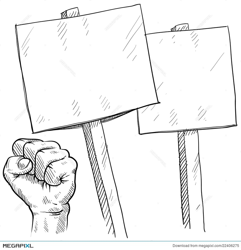 Blank Picket Or Protest Signs Illustration 22406275.