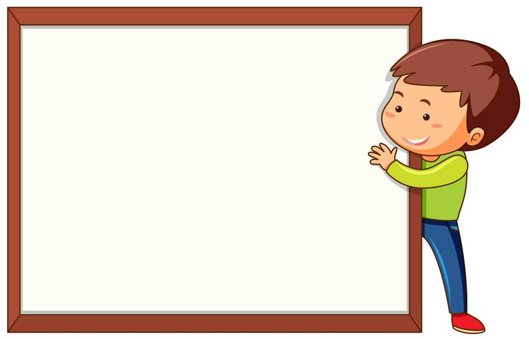 Boy with blank frame template.